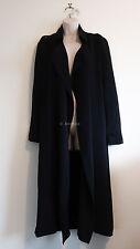 KOOKAI silk trench coat long sleeve jacket black flowy draped collar duster 34