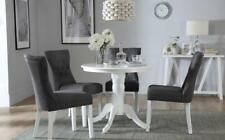 Kingston Round White Dining Room Table & 4 Bewley Fabric Chairs Set - Slate