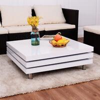 Table basse Table de salon carrée pivotante table à café blanc