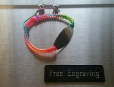 FREE ENGRAVING (PERSONALIZED) Multi Color Satin Macrame Stainless Steel Bracelet