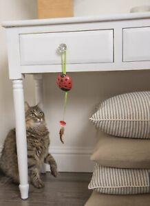 Petlinks Ladybug Red Laser Pointer Lazer Hanging Door Knob Feather Cat Toy NEW
