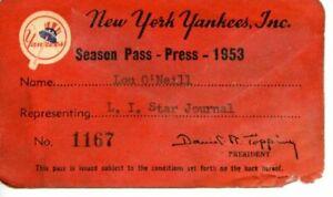 1953 New York Yankees Press Pass / Season Pass