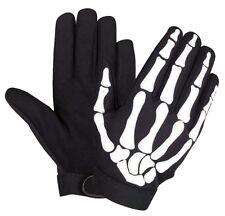 QUALITY SMALL Skeleton BONES Hand GLOVES Fingers Mechanic BLACK & WHITE BIKER SM