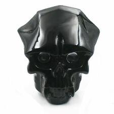 Motorcycle Black LED Skull Headlight Head light Lamp With 28-43mm Mount Bracket