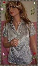 The Limited Satin Gray Print Pearl Button Down Blouse Top XS Career Short Slv