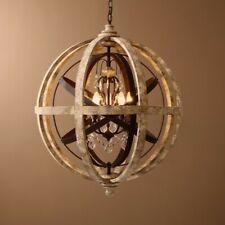 Rustic Weathered Wooden Globe Chandelier 5-Light Crystal Chandelier Lighting CE