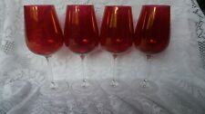 Red Stained Crystal Wine Glasses Set of 4