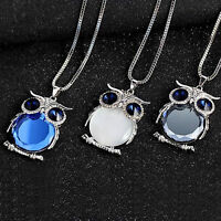 Owl Rhinestone Women Crystal Pendant Necklace Animal Long Sweater Chain Jewelry