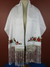 Rare Vintage Traditional Hungarian Embroidered Floral Shawl Folk Ethnic New