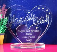 Personalised 21st Birthday Heart Gift with message -  Free Standing Keepsake
