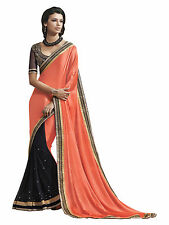 Saree Chiffon Georgette Saree with Embroidery and Designer Blouse Material