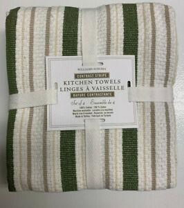 Williams Sonoma Green Classic Stripe Basketweave Towels S/4