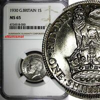 Great Britain George V Silver 1930 1 Shilling NGC MS65 BETTER DATE SCARCE KM#833