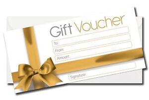 Blank Gift Certificates Vouchers + Luxury White Envelopes  Set of 6