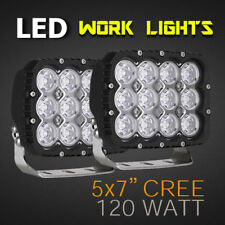 "LED Work Light - PAIR - 5x7"" 120W PRO Grade, Available in Spot or Flood 12v/24v."