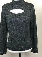 Cache Women's Knit Top Black Silver Sparkly Long Sleeve Mock Neck Medium