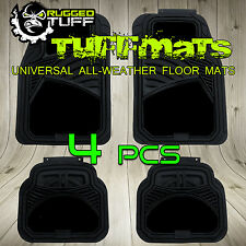 RUGGED TUFF FLOOR MATS NEW BLACK 4 PCS UNIVERSAL TRIM CUT SEMI CARPET HEAVY DUTY