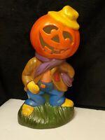 "Vintage 1980s Halloween Pumpkin Jack o Lantern Scarecrow Ceramic 12""...#JL11"