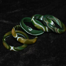 Natural Green Agate Bangle Bracelet Beautiful Decorative Pattern