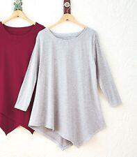 (1) Women's V-Bottom Tunic Top 3/4 Length Sleeve Gray Plus Size 3 X 26/28