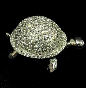 TURTLE Jewellery Trinket Box Pewter Metal & Crystals 9cm