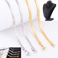 Collana a Serpente Collier Acciaio Inox 40-60 Argento Oro Piatto Donna Uomo