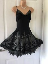 STUNNING KAREN MILLEN BLACK & SILVER SILK DRESS/GOWN 14