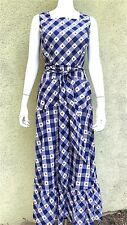 Grown Up Blue White Check Pinafore Maxi Dress 1970s