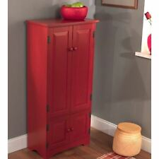 Red Wooden Pantry Cabinet Kitchen Storage Organizer Tall Cupboard Food Shelves