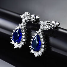 HUCHE Pear Dangle Blue Sapphire White Gold Filled Flower Lady Wedding Earrings