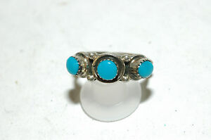 Ladies Navajo 3 stone turquoise band ring Sterling Silver Signed