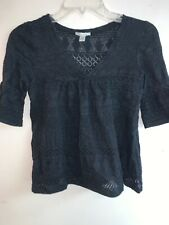 Kimchi & Blue Women's Black Lace See Through Half Sleeve Size Small Made in USA
