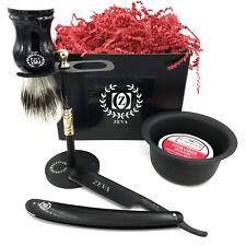 Classic 5 Pc Shave Ready Men Straight Edge Razor Shaving Set Kit All Black