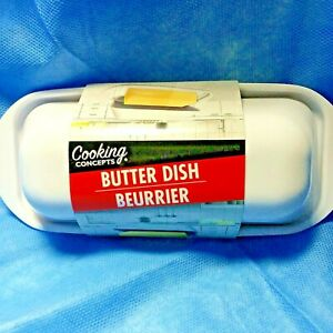 Butter Dish Covered White Sturdy Plastic Single Stick Beurrier Cooking Concepts