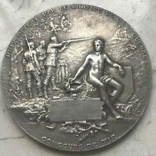 Large Silver France Shooting Medal by Henri DuBois - Councours De Tir