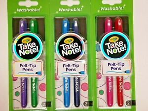 Crayola Take Note Felt Tip Washable Pens Lot of 3 Packages 6 Total Pens