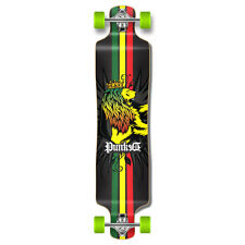 Rasta graphics Lowrider Drop down through Longboard Complete skateboard cruise