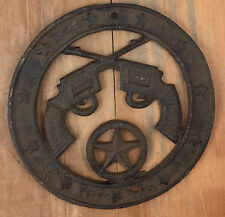 Texas Star Six Shooters Pistols Plaque Rustic Western Decor