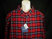 NWT Croft & Barrow Red Navy Blue Plaid Long Sleeve Flannel Shirt Men's 3XB