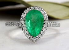 1.95Ct Natural Colombian Emerald & Diamond 14K Solid White Gold Ring