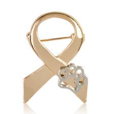Fashion Gold Paw Print Animal Cruelty Awareness Ribbon Brooch Pin Cat Dog Gift