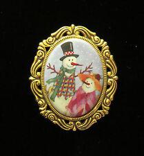 Frosty Snowman Couple Porcelain Pin Brooch 24 Karat Gold Plate Winter Holiday