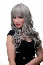 wig Me Up Perruque gris ondulés cheveux longs lisses frange 285-51 65cm