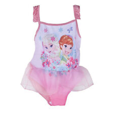Disney Frozen Elsa Anna Girls Pink One Piece Swimming Dress Swimwear Swimsuit
