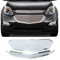 For 2016 2017 Chevy Equinox Grill Front Grille Cover Snap On Overlay Mesh Chrome