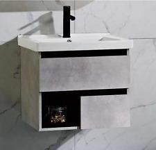 Modern Wall Hung Vanity Unit in Grey Wood 600MM