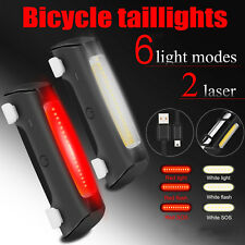 LED USB Rechargeable Bicycle Bike Cycling Front Tail Rear Light Warning Lamp Set
