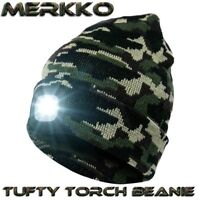 Tufty Torch®  Camo Beanie Head torch rechargeable LED Carp Fishing Bivvy Light