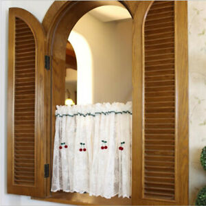 Fashion Short Half Curtain White Lace Kitchen Cabinet Door Small Window Drapes