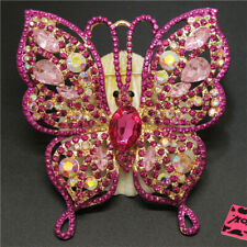 Butterfly Crystal Charm Brooch Pin Gifts Betsey Johnson Shine Rose Pink Bling